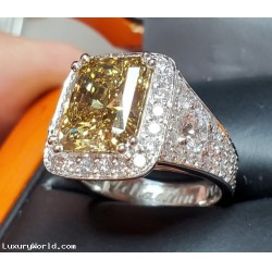 Sold 5.42Ct Gia Fancy Deep Brownish Yellow Diamond Vs1 & D Flawless Rounds Platinum Ring by Jelladian