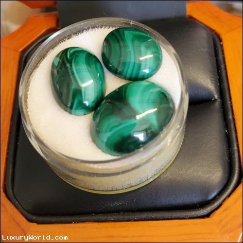 21.85Ctw 3 Malachite Stones Lot $29