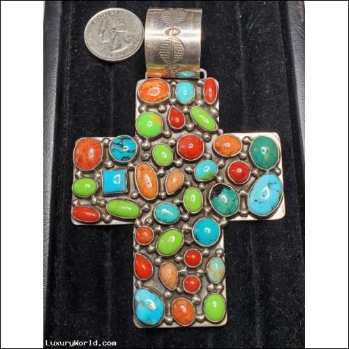 $500-$1,000 Estate Turquoise & Multi Color Stone Cross Pendant Sterling by Key Cook & Rocki Gorman