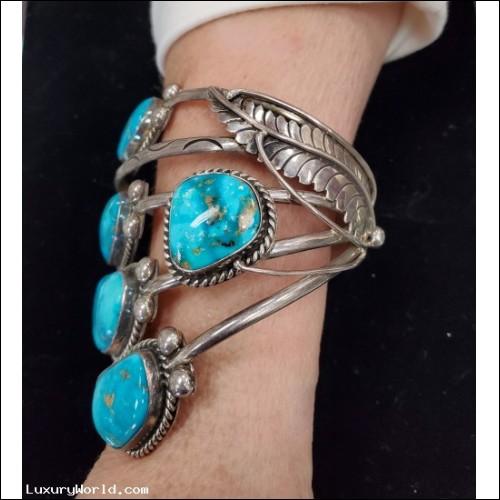 $300-$500 Estate Signed Linda Johnson Turquoise Sterling Silver Cuff Bracelet $1Nr