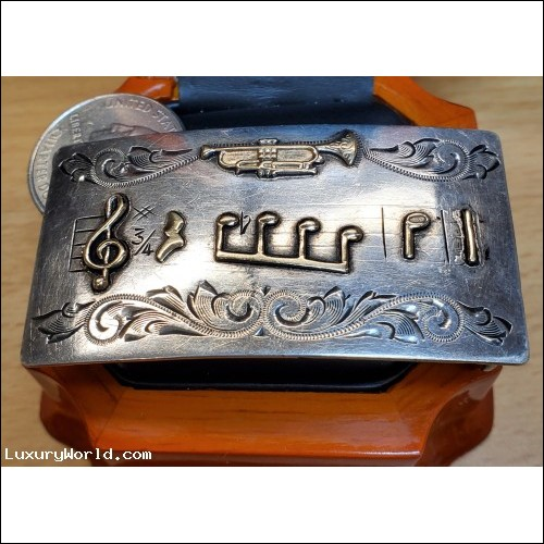 $25-$50 Trumpet & Music Belt Buckle Sterling & 10k Gold $1Nr