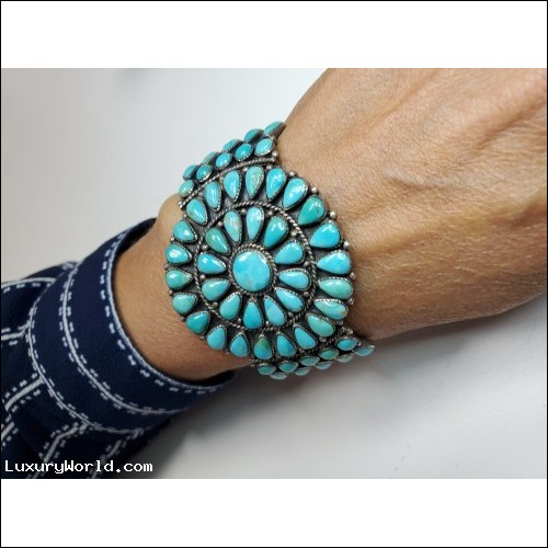 $100-$200 Circular Turquoise Cluster Cuff Bangle Bracelet Sterling $1Nr