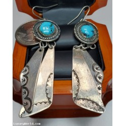 $25-$50 Estate Turquoise Dangling Earrings Sterling $1Nr