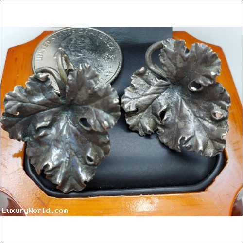 $25-$50 Estate Maple Leaf Earring Clips without posts Sterling $1Nr