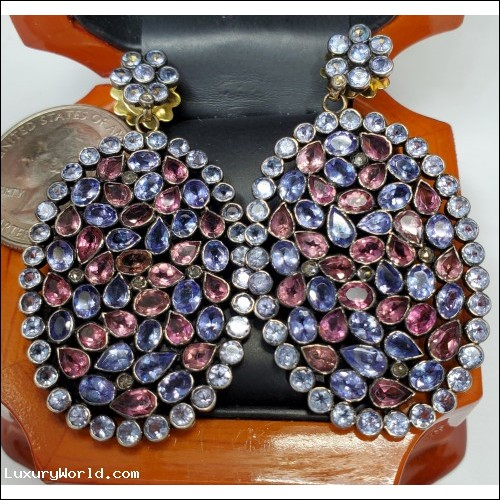 $300-$500 Estate 12.00Ctw Pink Tourmaline Oct & Tanzanite Dec Earrings Blackened Silver with 14k Posts & Backs $1Nr