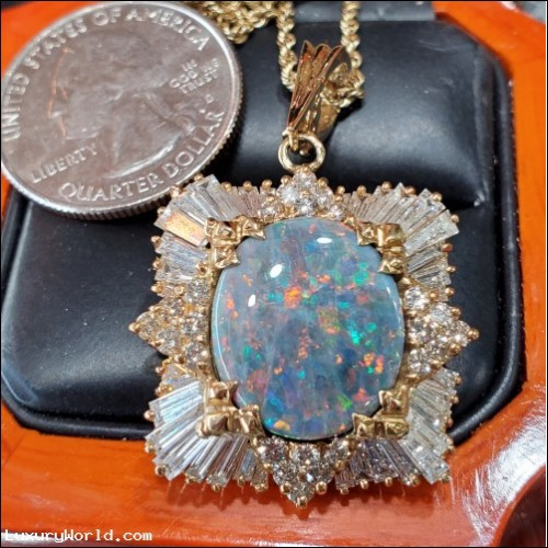 $4,000-$5,000 estate 8.81ctw Gia certified natural play of.color Opal and Diamond Pendant 14k