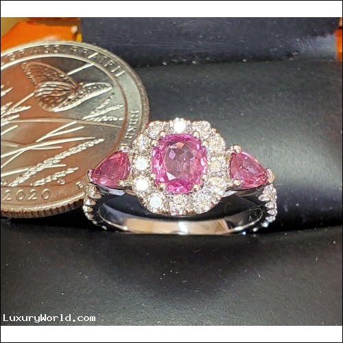 Sold Pink Sapphire & Diamond Ring 18k white gold by Jelladian Order Now for $2,000