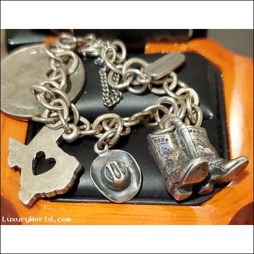$100-$200 Estate Texas, Boots & Cowgirl Hat Sterling Charm Silver Bracelet
