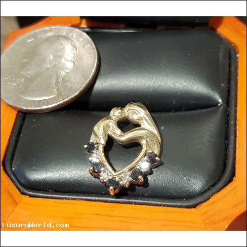 $200-$300 Estate Diamond and Sapphire Heart Pendant 10k Gold