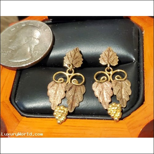 $100-$200 Estate Rose & Yellow 10k Gold Dangle Earrings w 14k Backs