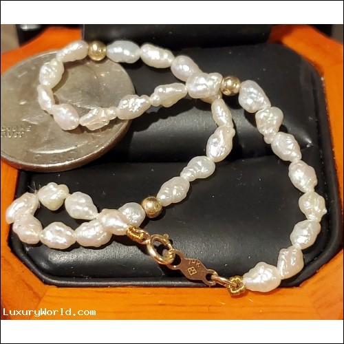 $100-$200 Estate Freshwater Pearl Bracelet with 14k Gold Clasp