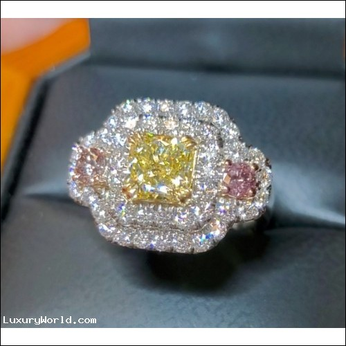 Sold for $12,000 Gia 1.01Ct Fancy Yellow Internally Flawless Diamond Ring Platinum by Jelladian