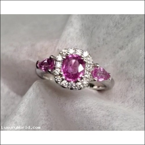 Sold 1.61Ctw Madagascar Pink Sapphire and Diamond Ring Platinum by Jelladian