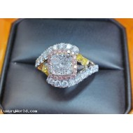 Sold Cushion Diamond with Pink & Yellow Diamonds set in Platinum by Jelladian