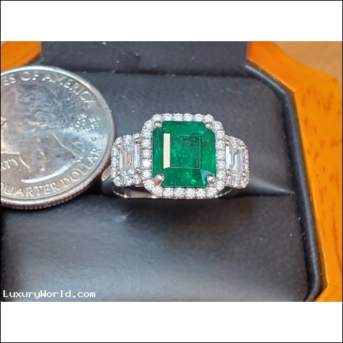 $5,000-$7,000 Estate 4.10Ctw Emerald and Diamond Ring Platinum by Jelladian with $18,000 Appraisal