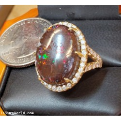 $3,000-$3,500 11Ctw Boulder Opal and Diamond Ring 18k Gold