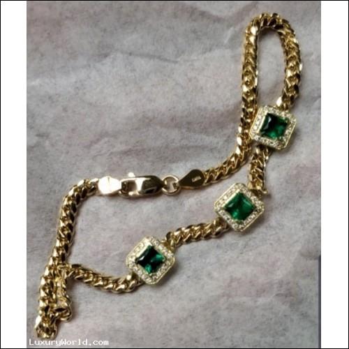 Sold Emerald and Diamond Bracelet 18k Gold by Jelladian